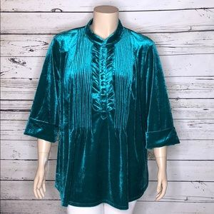 Woman Within 3X Teal Velour Ruffle Henley Blouse